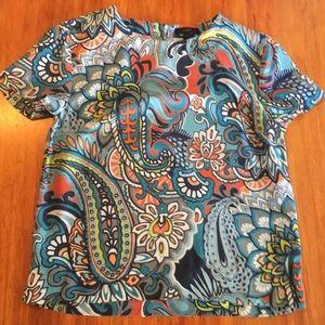 J Crew colorful paisley top 100% silk